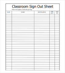 Classroom Sign Out Sheet Template Major Magdalene Project Org