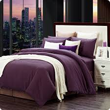 modern home textile 100 cotton sanding solid dark purple print brief bedding set designer 4pcs bed sheet duvet cover king queen in bedding sets from home