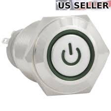 16mm Maintainedlatching Pushbutton Power Switch Silver Metal Power