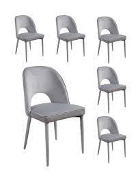 6x Lc Home Esszimmerstuhl Polsterstuhl Design Stuhl Samt Grau