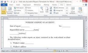 Word Report Format Free Job Accident Report Template For Word