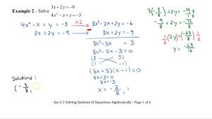 math 11 sec 8 2 solving systems of equations algebraically