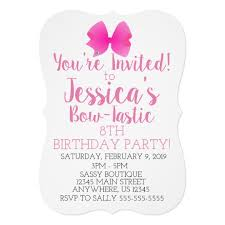 Cute Big Pink Girly Bow Bow Tastic Birthday Party Invitation