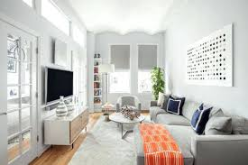 ideas for living room decor in apartment narrow living room with white walls and grey furniture