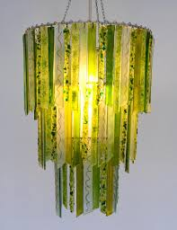 titania woodland green 3 tier handmade recycled glass chandelier