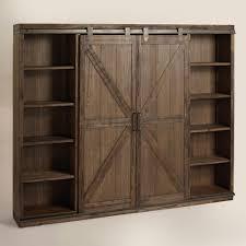 interior marvelous media storage cabinet with sliding doors wood farmhouse barn door bookshelvess glass low bookshelves