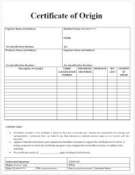 Letter Of Origin Certificate Of Origin Template Official Templates Templates