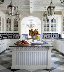 blue and white tile backsplash with figural and solid blue and white tiles in an anthony