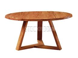 tripod solid recycled elm wood round dining table