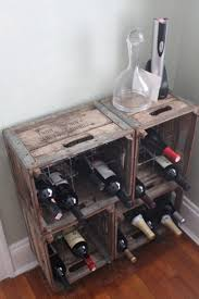 Wine rack made from old milk crates.