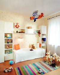 f amusing kids bedroom design with lovely wallpaper and single bed under floating shelves built in cherry bookcase tower in white finishing plus multi amusing white bedroom design fur rug