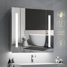 Lighted Bathroom Mirrors With Shaver Socket Quavikey 650 X 600mm Led Illuminated Bathroom Mirror Cabinet Aluminum Bathroom Mirror With Shaver Socket Demister Straight Lights
