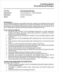 Housekeeper Job Description Example 14 Free Word Pdf