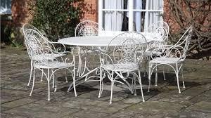 wrought iron garden furniture. Unique Garden Vintage Cream Wrought Iron Metal Garden Patio Dining Furniture Table  6  Chairs On O