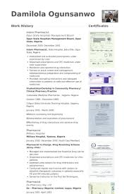 Pharmacist Resume Samples Visualcv Resume Samples Database