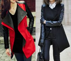 womens jacket with leather sleeves