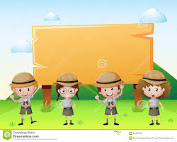 Sign Template With Kids In Safari Outfit Stock Vector Illustration