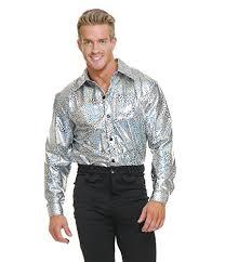 Charades Costume Size Chart Charades Men S Glitter Disco Shirt Silver Large
