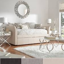 Stunning Round Decorative Wall Mirror Over Modern Upholstered Daybed With  Trundle And Mirrored Living Room Tables. Modern Daybed With Trundle Designs  ...