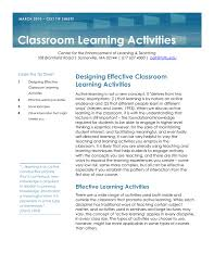 Designing Learning Activities Classroom Learning Activities