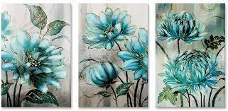 blue flower painting wall art