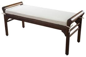 Dixon Mahogany Stained Wood Bench W Ivory Cushion Transitional