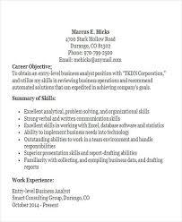 entry level business analyst resume drafting resume