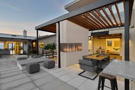 outside gas fireplace contemporary