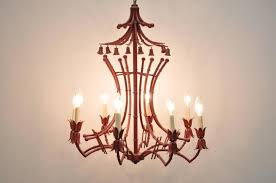 fabulous vintage red painted italian faux bamboo tole chandelier item features a unique paa frame
