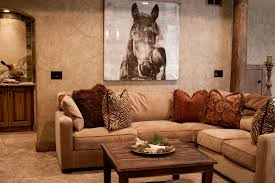 cool wall art and wall covering with sectional couch and coffee table for rustic living room ideas