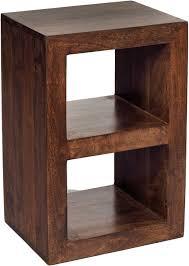 dakota mango wood 2 hole cube shelving unit walnut colour