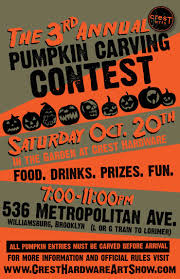 pumpkin carving contest flyer crest arts presents 3rd annual pumpkin carving contest brooklyn