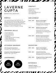 resume print black animal print corporate resume templates by canva