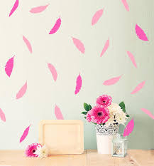Peel And Stick Wall Decor Gold Pink Feather Removable Wall Sticker Kids Room Wall Decals