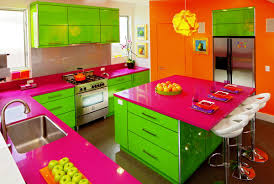 kitchen design ideas in colorful theme with colorful kitchen sets made of wood with quartz top