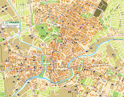 large detailed street map of kharkov city center with buildings