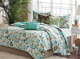 Turquoise Tropical Palm Leaf Quilt Set (6 Piece Bed In A Bag ... & Tropical Coastal Quilt Beach House Theme + 2 Shams + 3 Gorgeous Toss  Pillows + Home Style Brand Sleep Mask ( 7 Piece Bedding Set) (King) Adamdwight.com