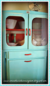 Painted Kitchen Cupboard Love The Red Handles On This Old Painted Kitchen Cabinet Red
