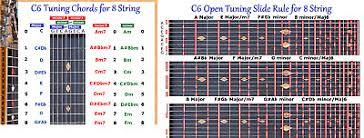 C6th Chord Chart C6 Chord Slide Rule Charts For 8 Eight String Lap Steel Guitar 2 Laminations Ebay