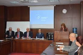 veselka pavlova is opening the round table conference on the left sergey tsvetarsky prof statty stattev prof valentin goev dr bogdan bogdanov