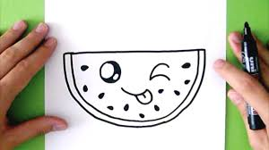 how to draw a cute watermelon super easy happy drawings