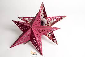 Holz Leuchtstern Mit Leds Flowers Bordeaux ø 39 Cm Weihnachtsstern Beleuchtet