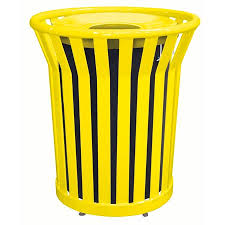waste receptacle with spun metal lid