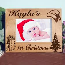 Babys First Christmas Picture Frame Customized Wood Engraved