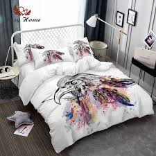 dreamcatcher feathers luxury watercolor bedding set bohemian printed feather bed linens set queen king size duvet