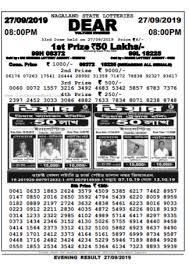 Nagaland State Lottery Sambad Result 8 Pm September 27 2019