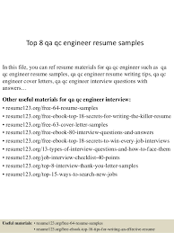 Qa Qc Resume Sample