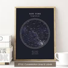 Star Chart Poster Custom Custom Star Map Print Night Sky Print Star Chart Poster Or