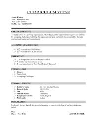 Template Sample Of Cv Format Curriculum Vitae For Science Templates