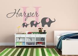 letter decals for walls custom baby name wall sticker cute elephants wall decal nursery wall